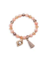 Lonna And Lilly Semi Precious Quartz Goldtone Charm Stretch Bracelet Multi