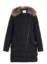 Moncler Metrodora Fur Trimmed Quilted Down Coat Navy