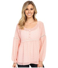 Ariat August Top Bright Peach Women's Long Sleeve Pullover Pink