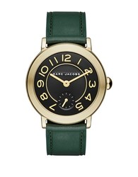 Marc Jacobs Riley Goldtone Stainless Steel And Leather Strap Watch Clsc36ipggrnstrp Green