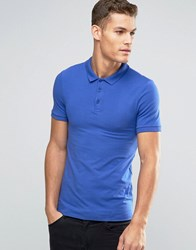 Asos Extreme Muscle Polo Shirt In Blue Baleric