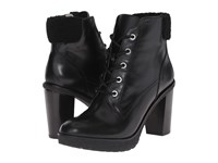 Michael Michael Kors Kim Lace Up Bootie Black Distressed Vachetta Faux Shearling Women's Lace Up Boots