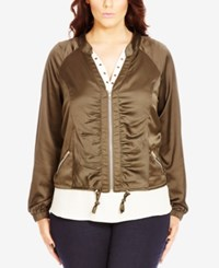 City Chic Plus Size Ruched Sateen Bomber Jacket Olive