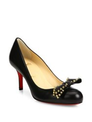 Christian Louboutin Ballalarina Studded Bow Leather Pumps Black Gold