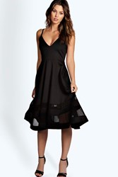 Boohoo Strappy Double Mesh Midi Skater Dress Black