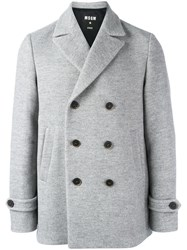 Msgm Double Breasted Jacket Grey