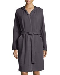 Hanro Danielle Hooded French Terry Robe Charcoal Grey
