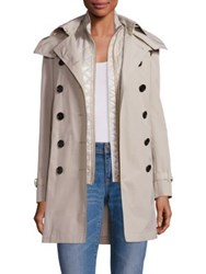 Burberry Churchdale Trench Coat And Quilted Gilet Stone