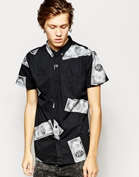 Zee Gee Why Shirt Rancho Relaxo Short Sleeve Black Jack Print Blackjack