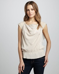 Robert Rodriguez Lace Panel Silk Top