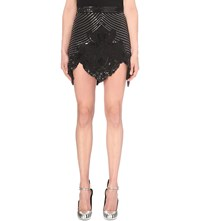 Rodarte Beaded Silk Blend Skirt Black Silver