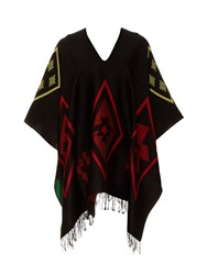 Marcelo Burlon Rosario Intarsia Knit Cotton Poncho Black Multi