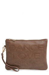 Under One Sky Faux Leather Clutch And Portable Charger Brown Taupe