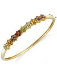 Victoria Townsend 18K Gold Over Sterling Silver Bracelet Multi Stone 2 5 8 Ct. T.W. Flower Bangle