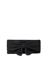Jessica Mcclintock Metal Embellished Clutch With Bow Accent Black