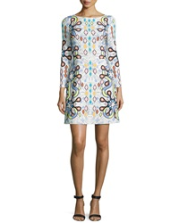 Peter Pilotto Long Sleeve Geometric Print Shift Dress
