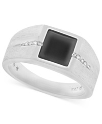 Macy's Men's Sterling Silver Ring Onyx 1 1 2 Ct. T.W. And Diamond 1 8 Ct. T.W. Square Band Ring