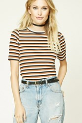 Forever 21 Contemporary Striped Tee Black Rust