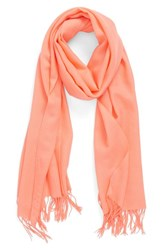 Women's Nordstrom Tissue Weight Wool And Cashmere Scarf Coral Coral Pink