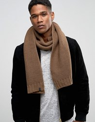 Selected Homme Scarf In Textured Knit Beige