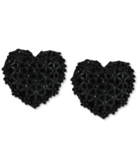 Betsey Johnson Black Heart Button Stud Earrings