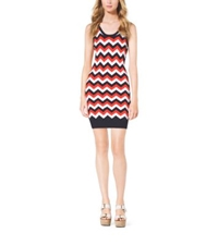 Michael Kors Fine Knit Chevron Dress Navy