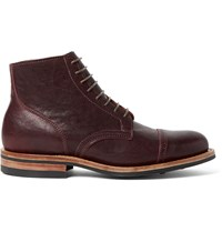 Viberg Service Leather Brogue Boots Burgundy