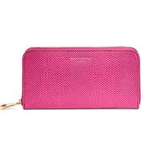 Aspinal Of London Continental Clutch Lizard Embossed Leather Wallet Pink