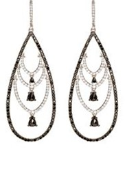 Sharon Khazzam Women's Black And White Diamond Pear Shaped Drop Earrings Colorless