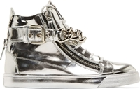 Giuseppe Zanotti Silver Mirrored Leather London High Top Sneakers