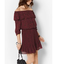 Lace Print Chiffon Off The Shoulder Dress Cinnabar