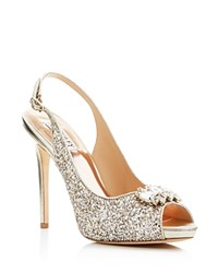 Badgley Mischka Adore Glitter Slingback High Heel Pumps Platino
