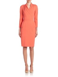 Armani Collezioni Long Sleeve Milano Jersey Dress Orange