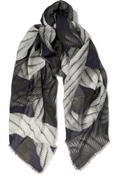 Christopher Kane Printed Cotton And Modal Blend Scarf Blue