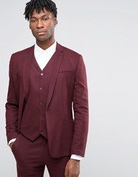 Asos Skinny Suit Jacket In Burgundy Micro Texture Burgundy Red