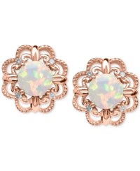 Macy's Opal 5 8 Ct. T.W. And Diamond Accent Earrings In 14K Rose Gold White