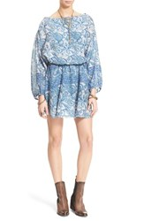 Women's Free People 'Silver Sun' Blouson Minidress Washed Blue