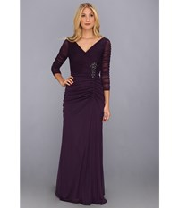 Adrianna Papell Drape Covered Gown Aubergine Women's Dress Purple