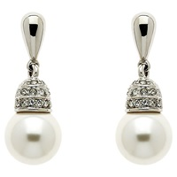 Finesse Rhodium Plated Swarovski Crystal Faux Pearl Earrings Silver