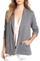 Leith Women's Open Front Boyfriend Blazer Grey Dark Heather