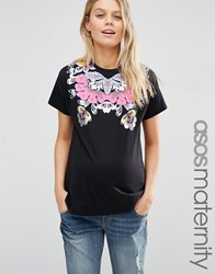 Asos Maternity T Shirt With Metallic Floral Placement Print Black Base Multi