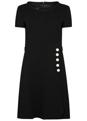 Boutique Moschino Black Faux Pearl Embellished Wool Dress