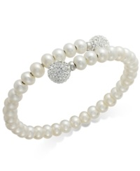 Honora Style Cultured Freshwater Pearl 6Mm And White Crystal 10Mm Bracelet In Sterling Silver