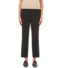 Helmut Lang Cropped Stretch Wool Trousers Black