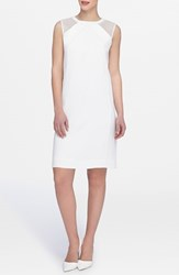 Petite Women's Tahari Mesh Inset Shift Dress