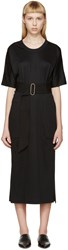 Christophe Lemaire Black Belted Jersey Dress