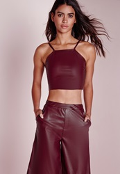 Missguided Faux Leather Crop Top Burgundy