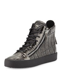 Giuseppe Zanotti Men's Crocodile Embossed Leather High Top Sneaker Pewter