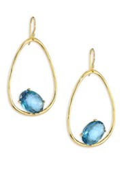 Ippolita Rock Candy London Blue Topaz And 18K Yellow Gold Oval Earrings Gold Blue Topaz