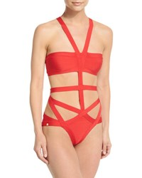 Herve Leger Cutout Bandage One Piece Swimsuit Coral Poppy